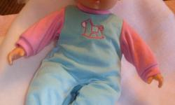 """I have a 14"""" doll & blanket for sale.Doll opens eyes, cries & makes baby sounds"""