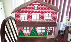 """Doll house completely handcrafted from plastic canvas and yarn, washable. More than enough furniture to fit in it. Dimensions are 16""""h x 14""""w x 7""""d. Asking $75.00"""