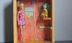 Hand made pine wood doll house that closses for easy storage.