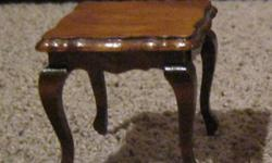 french provincial table for a doll house. excellent shape. comes with original box. $10. end table is 2 inches in height by 2 inch square.