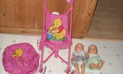 For Sale Winnie the Pooh Doll Stroller, Winnie the Pooh nap sack, 2 dolls, clothes, toys and dishes. Non smoking enviroment. Pick up only, Bridgewater Area