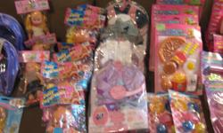 For ages 3+, 44 individual items, some packaging slightly damaged. Prices $1-3. Great for prizes, goodie bags or stocking stuffers. Or you can buy the lot for $55. Items include, princess furry butterfly headbands, Tiara play set, CD players, Bratz style