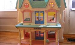 "Dollhouse (by Fisher Price) is in good condition and folds away for easy storage. Comes with family and furniture in pictures plus a few other items. Measures 22""T x 19.5""W. I work in Charlottetown and can bring it to town if you are interested."