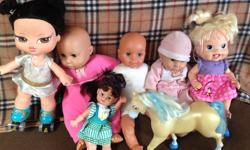 Lot of six dolls and one horse. One doll is Baby Alive.