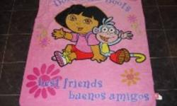 I am selling this Dora & Boots Throw. It has Dora & Boots pictured on the front. It also folds up and tucks into it's own attached backpack. It is in excellent condition and I am selling for best offer.   Check out my other ads.