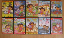I am selling the most popular DVDs for young kids, including Dora and Diego series and a lot more. $3 each, or $25 for 10, or $90 to take them all. DVDs include: Dora series (19) Diego series (6) Little Einsteins series (5) Wonder pets (1) Toopy and Binoo