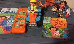 Includes two sets: diego on a truck with cumpus. 4 characters boots, dora, diego and the cat. Dora goes for a rode book, and the Dora Choo Choo sound book. $20. Sesame Street wagon, trailer, bus and bike with two characters. $10. View my other listings...