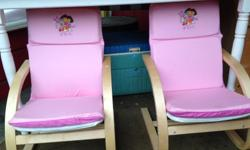 Adorable Dora Chairs, pink cushions, wood frames and only $15.00 for the pair. Check out my sellers list for more deals! Available at The Skeleton Key-Gifts'n'Thrifts 9708 Chemainus Rd Thurs-Sun 11-5 (sometimes Wed) Feel free to Text 250-710-6703