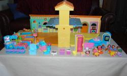 Dora The Explorer House with tons of furniture and Dora Family too. Plus a pool that makes noises. Folds for storage opens up to 2 stories. $45.00 firm  Just the house costs more than everything here.
