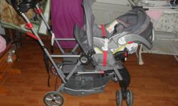 I am selling a stroller and matching car seat.  We bought it july 24th when we had our baby.  The stroller has a seat on the back for another child I paid $169 plus tax and the car seat was $129. plus tax and we are selling for $150 for both its not even