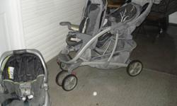 Tandem stroller from Graco - comes with infant car seat that clicks into the back spot until baby is ready to ride in the stroller.  Both seats recline and have visors. Good condition. Clean with no rips. Car seat is in excellent shape. Please email if