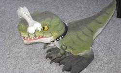 Drex interactive dinosaur with bone remote control he is great fun for all ages from 6-50 even my dad enjoyed playing with him he is in great condition still wokrs amazing just tested him out he walks, roars, obeys commands, answers questions,