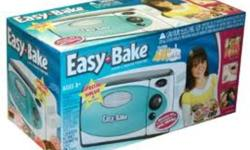 Easy Bake Oven & Snack Center -- NEW   Bake up sweet and tasty treats with the classic light-bulb oven. Use the included mixes, pans and accessories to whip up cakes and cookie batter. Follow the directions to bake them inside the oven. Keep your treats