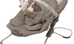 Perfect condition baby bouncer chair. Soft material, plays music with volume options or vibrates. Easy fold for quick storage and/or travel. Machine washable cover, dryer safe. Cute woods theme. Our baby has outgrown it and it's well missed! Bought in