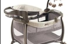 Eddie Bauer soothing comfort playard a perfect place for your baby to nap and play. An elevated changing station is set at the perfect height with a safety harness to assist with diaper changes, the enhanced electronics help soothe baby and also features