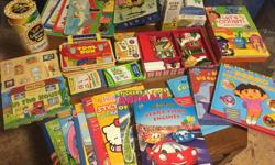 Selling various excellent condition books, puzzles and games. See price and description below. -Caillou tubes and tunnels 3D snakes and ladder game and 6 story time books (New) $ 13. -I Spy 100 piece puzzle $5. -Melisa & Doug Santa Clause Magnetic Dress