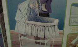 Purchased towards the end of 2004.  Used for a couple of months, then stored.  Excellent condition.  Still in original packaging.  Some slight staining along the side.  Perfect for use as your primary bassinet, or as a backup at the grandparent's.