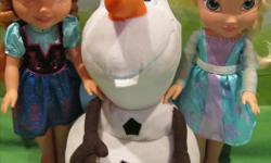 """As shown Olaf is a backpack all are in clean condition selling as a lot for $55 firm interested email for arrangements. Dolls are aprox 13"""" High. Must sell all proceeds will be going towards pups dental surgery that needs to be done ASAP,have added a free"""