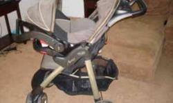 Nice single stroller and matching car seat with base in black/tan combo. Purchased about 3 years ago. Still in great condition. MANY SUPER FEATURES SUCH AS: Stroller has 2 drink holders at top and 2 on child's tray at front, top tray has storage