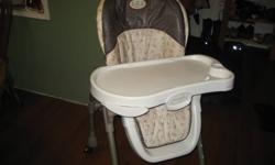 Evenflo High Chair   Excellent Condition Very Clean Removable Dishwasher Safe Tray 7 Adjustable Heights   $60.00 obo   CALL (204) 367-4783   I live in Powerview (1 hour north of Winnipeg) Delivery to Winnipeg can be arranged