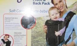 The Evenflo Snugli Front and Back Soft Carrier offers three different carrying positions: face in, face out, and as a backpack.  With dual side entry buckles (that can be worked one-handedly), getting Baby in and out is a breeze.  This Snugli carrier also