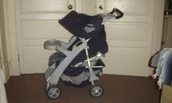 Evenflo stroller in very good condition. Only used for a year and a half. Comes with detachable eating/drink table for baby and reclines for sleeping. Cup holder and tray for mom/dad, large basket for storage under stroller, folds nicely to fit in trunk