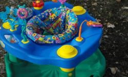 This exersaucer is in terrific condition. It has 3 adjustments, to grow with your baby and the toys are in excellent shape. Please e-mail if you have any questions.