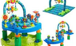 Evenflo ExerSaucer Triple Fun is designed for the first 2 years of your baby's life. Pond-themed activity center suits three developmental stages Grows from a newborn playmat to an ExerSaucer to a play center for walkers 11 age-appropriate toys, including