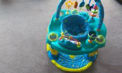 ExerSaucer used during Xmas visit. I great shape clean and working. Child can turn and play, and jump also listen to music