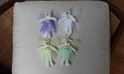 """Skirt & wing colours - green, yellow, white, purple Each bear is 6"""" tall. Very good condition."""