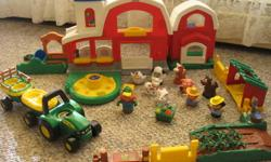 Farm Set Includes: Fisher-Price Little People Discovery Farm Animals Fisher-Price Little People Stable John Deere- Animal Sounds Johnny Tractor ( plays 'Old McDonald' when the farmer figure is pushed and realistic animals sounds) with Farmer John Deere