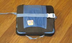 The On-The-Go Booster Seat is one of the lightest, most compact seats available. Grasp the easy-pull valve and it inflates for you, and then easily adjusts up to 4 inches high. The adjustable safety belt with T-restraint helps hold your child securely