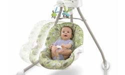 i am selling this baby swing since i have no use for it anymore. My son loved it when he was younger!!  Two different rhythmic swinging motions help soothe baby Twelve soothing songs and nature sounds Mobile motion and colorful characters Variety of
