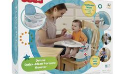 Fisher-Price Deluxe Quick-Clean Portable Booster Used once, like new with box. - Convenient storage compartment on back holds wipes for quick cleaning - Removable, dishwasher safe tray features Sure Grip to keep dishes in place - Two position height
