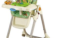 This product is part of the Rainforest by Fisher-Price Collection. Looking for a way to keep your baby entertained while you prepare a meal or clean up? Look no further than the Fisher-Price Rainforest Healthy Care High Chair. Snap the rainforest toy into