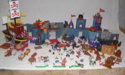 Imaginex by fisher price. 2 complete sets + extra men pirate ship that fires little plastic things. Castle that you build into many different designs. Everything you see here. No boxes or instructions, you can probable get instructions on line. worth