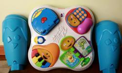 Excellent way to encourage your babies to stand up and cruise around while exploring sounds and interactive light up games. Over 60 songs, tunes, and learning activities introduce your baby to first words, shapes, colors, opposites, greetings, letters,