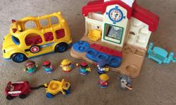 8 figures, school, bus, tricycle and wagon. Check out my other listings. Call or text (306)550-4371 I rarely check my emails. Thanks for looking. Stephen