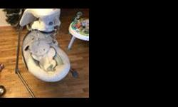 Electric baby swing with 3 swing directions, music, and relaxing nature sounds. Has a starry globe with sheep that spin around above the seat. Very good condition. My baby has outgrown it! Let me know if you have any questions. Posted with Used.ca app