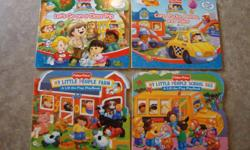 4 large lift-the-flaps Fisher Price board books in excellent used condition from a smoke-free & pet-free home. Titles as shown in photo. Asking $1.99 each.    2 Priddy board books in EUC. Asking $1.99 for small one (Happy Baby Things That Go) and $2.99