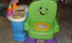 This Learning chair is almost like new barley used. Its a sit right down for storytime, or stand up and play with delightful activities! Up, down, and all around, baby will love all the learning fun in this musical chair. Tap the crayons for a colourful