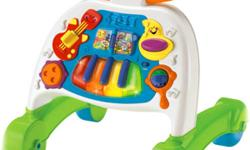 This walker is a sturdy, musical themed activity center for baby. In its first mode, baby can sit at front of the panel where they will have access to a ton of musical activities. Baby will be able to bat at 4 light up piano keys, flip the song book,