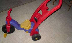 IN GREAT CONDITION USE FIRST WITH HANDLE AS ROCKER, THEN CONVERTS TO AS SHOWN FOR PARENT CONTROL THEN THE HANDLE TOTALLY REMOVES FOR JUST THE 3 WHEELER. paid close to 100.00 check out my other ads!