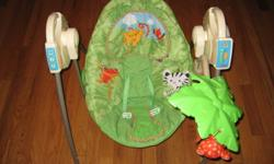 5 speed baby swing portable can be carried from room to room without waking baby.folds up for easy storage and travel. very clean smoke free home very useful, best thing to have.