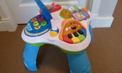 Sounds and music. Legs are removable for floor play. EUC