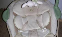 Not a bouncer, it's a soft papasan chair. The toy/mirror bar comes off and the legs fold flat for easy storage. Fabric comes off and is machine washable. Used maybe 10 times, Very good condition. Vibrates and plays soft music. Retails for over $100 No