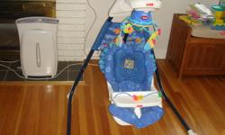 Gently used fisher price baby swing and saucer. Also inc baby bath tub and bath ring.