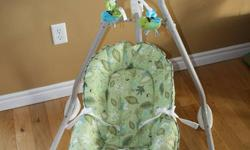 Like new! Used for 6 months with one baby. Great condition. More ways to soothe and entertain baby! With a turn of the seat, you can soothe baby with two different ways to swing: side-to-side cradle-like motion or head-to-toe swinging motion! Six swing