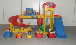 Fisher Price Garage Approx 4 years old In good used condition, ramp is a little discolored from use. Extra Little People & Vehicles included (not part of original set) Asking $25.00 Located in Dartmouth (Portland Hills)