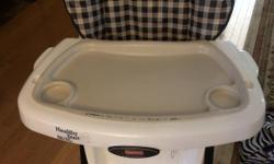 Excellent used condition. Three adjustable heights and reclining seat. Two trays - one is removable for easy clean up. Removable tray says it is dishwasher safe although we never did put it in the dishwasher. Seat cover is plastic for easy clean up.